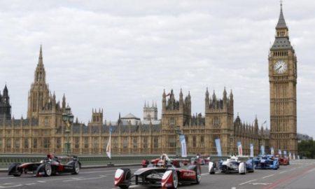 1. The all-electric Formula E cars race on Westminster Bridge