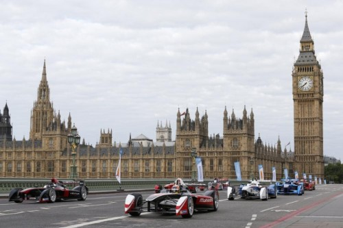 1. The all-electric Formula E cars race on Westminster Bridge