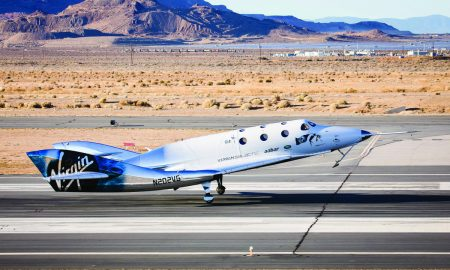 Virgin Spaceship Unity (VSS Unity) touches down after flying freely for the first time after being released from Virgin Mothership Eve (VMS Eve) on 3rd, December 2016 in the Mojave Desert.