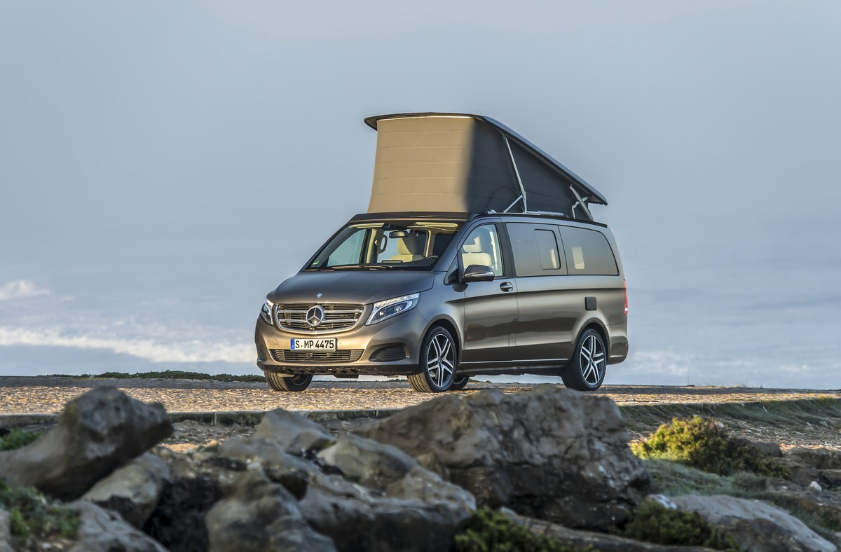 Der neue Marco Polo – 250 BlueTEC, Exterieur, indiumgrau metallic, EASY UP Aufstelldach The New Marco Polo– 250 BlueTEC, Exterior, indium grey metallic, EASY UP pop-up roof