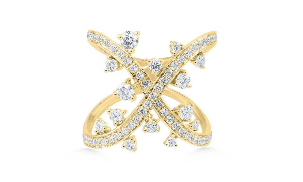 Prsten ALO diamonds z kolekce Aphrodité, žluté 14kt zlato, 67 diamantů, cena 129 458Kč