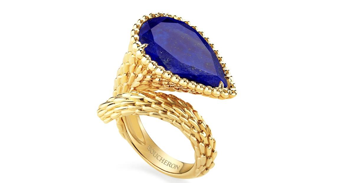 Prsten ve žlutém zlatě s lapisem lazuli 179 000 Kč