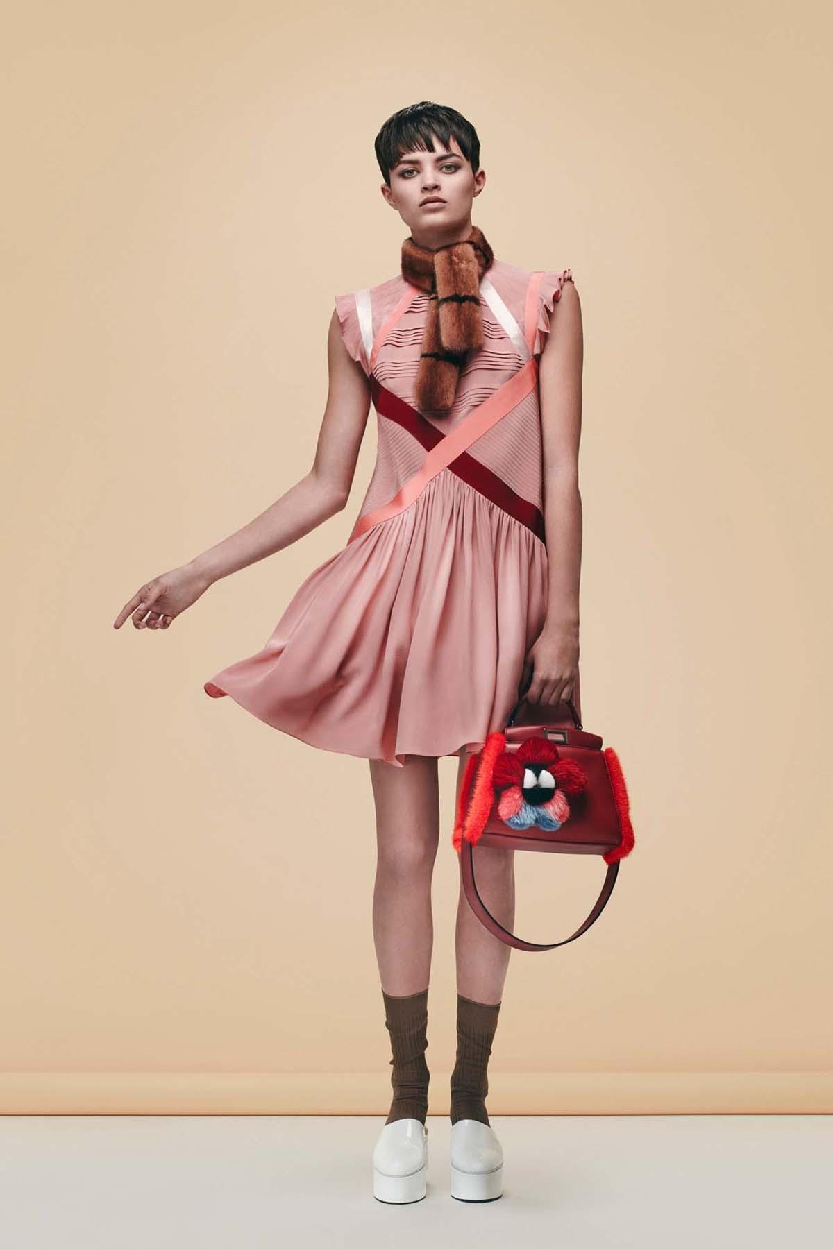 Fendi-Red-LeatherFur-Floral-Embellished-Peekaboo-Bag-Pre-Fall-2016