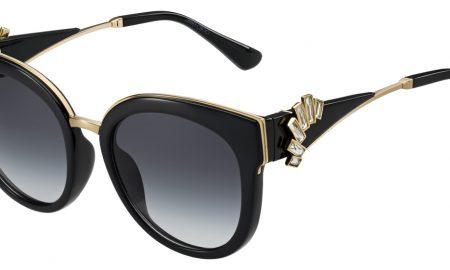 OPTIKA POLÁK, Jimmy Choo, dámské sluneční brýle, černo zlatavé, s odnímatelnými náušnicemi se Swarovski krystaly, cena 14160 Kč