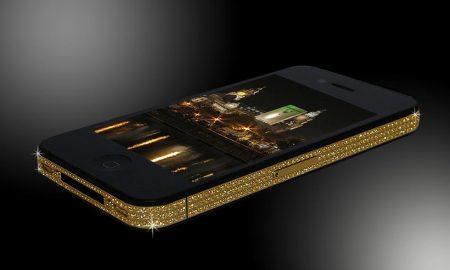 Zlatý iPhone 4 s křišťály Swarovski