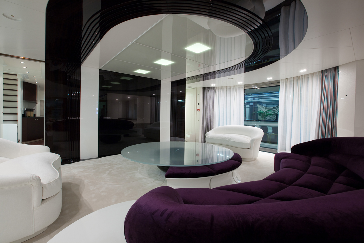 Top Elegant Interior Good Looking Quinta Essentia Yacht House Design Ideas Featuring Awesome Dark Purple Fabric Upholstery Bed Sofa Within Round Glass Wheel  Throughout Best Home Interior Design Websites Ideas - noroominhell.com