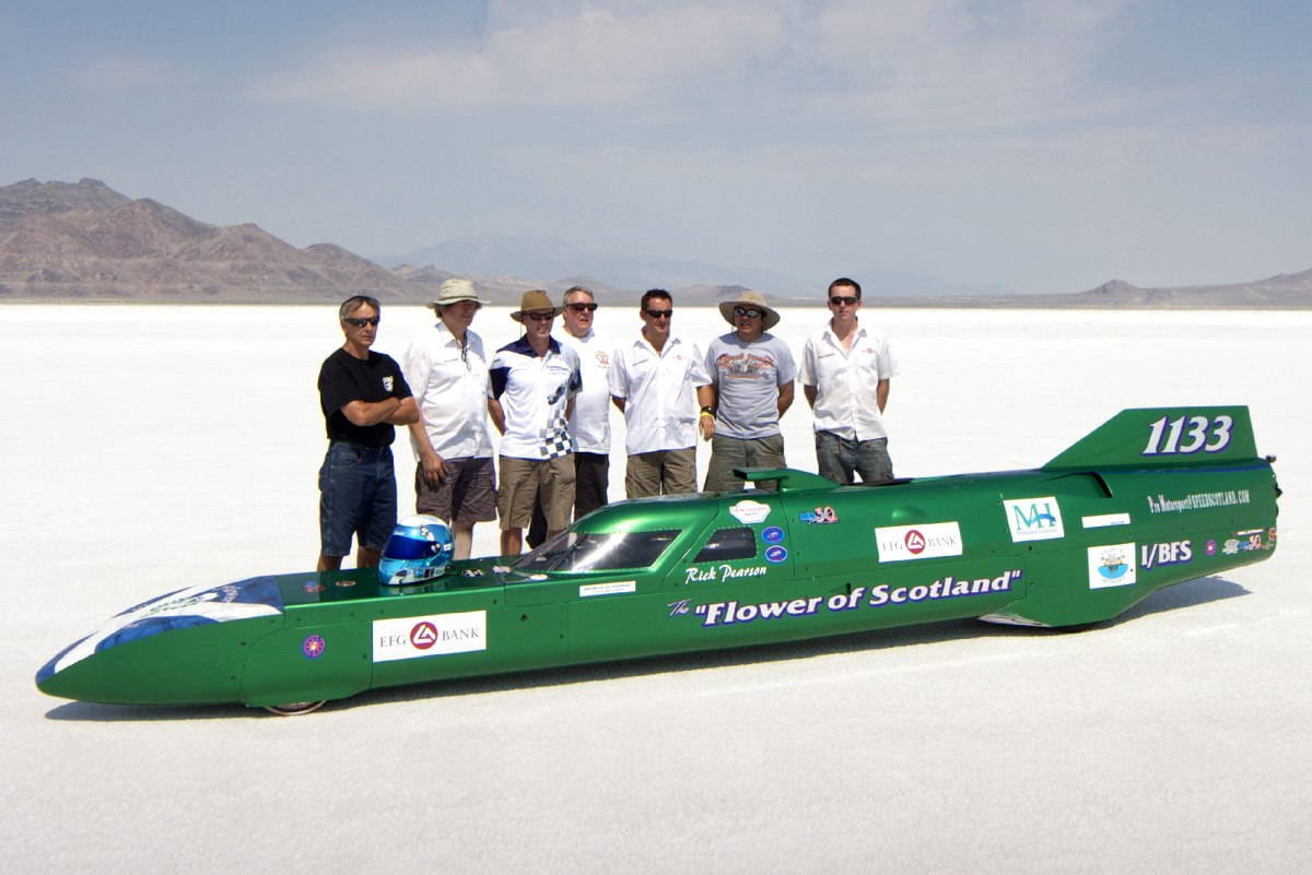 Of The Flower of Scotland team from a small town outside of Glasgow on the Bonneville Salt Flats in Utah, USA. Going for a 313mph record in the 1000 cc class. The record is over 100 years old